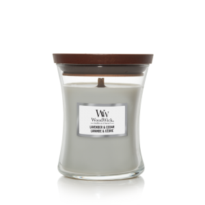 Woodwick geurkaars 'Lavender & Cedar'